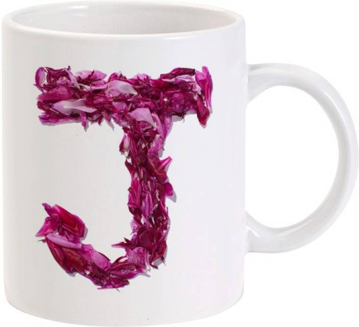 Lolprint J Flower Alphabet Letter Name Ceramic Mug