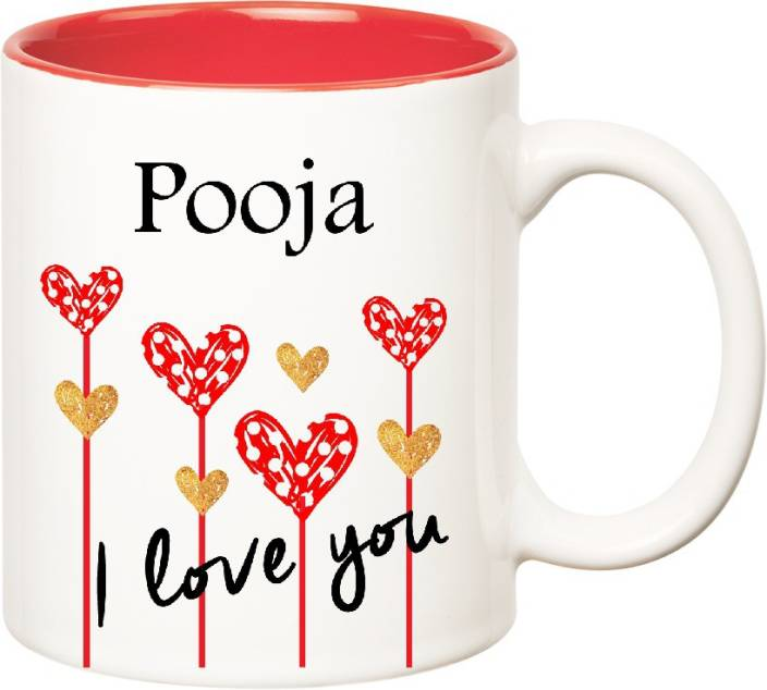 Huppme I Love You Pooja Inner Red (350 ml) Ceramic Mug