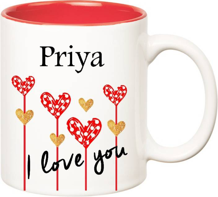 Huppme I Love You Priya Inner Red (350 ml) Ceramic Mug (350 ml)
