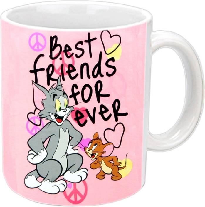 Jiya Creation1 Tom Jerry Friendship White Ceramic Mug Price In