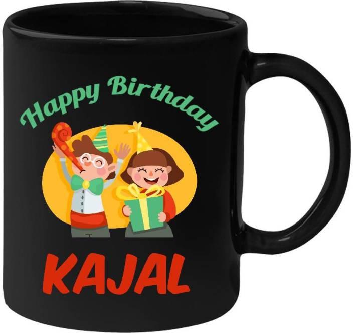 Huppmegift Happy Birthday Kajal Black 350 Ml Ceramic Mug Price In