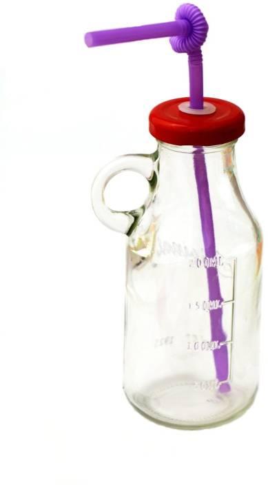 Satyam Kraft Bottle with Straw and Air Tight Cap Glass Mug
