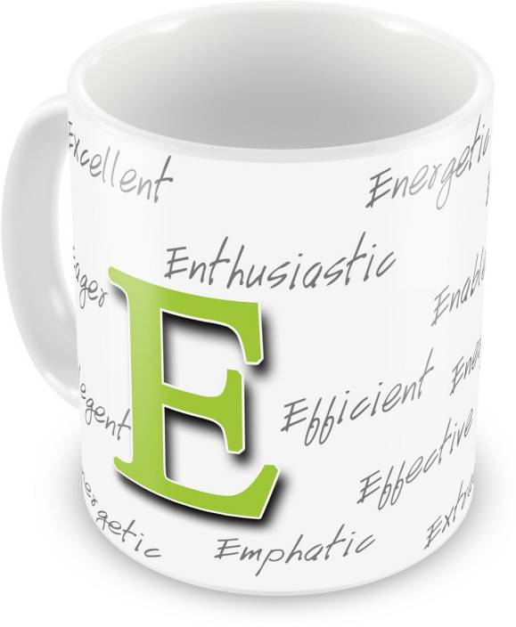 everyday gifts happy birthday gift for starting letter e ceramic mug