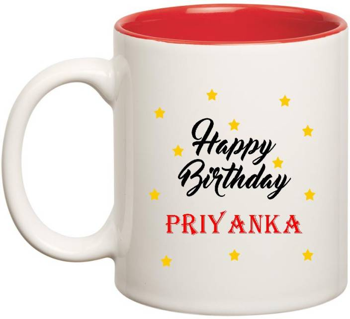 Huppme Happy Birthday Priyanka Inner Red Ceramic 350ml Ceramic Mug