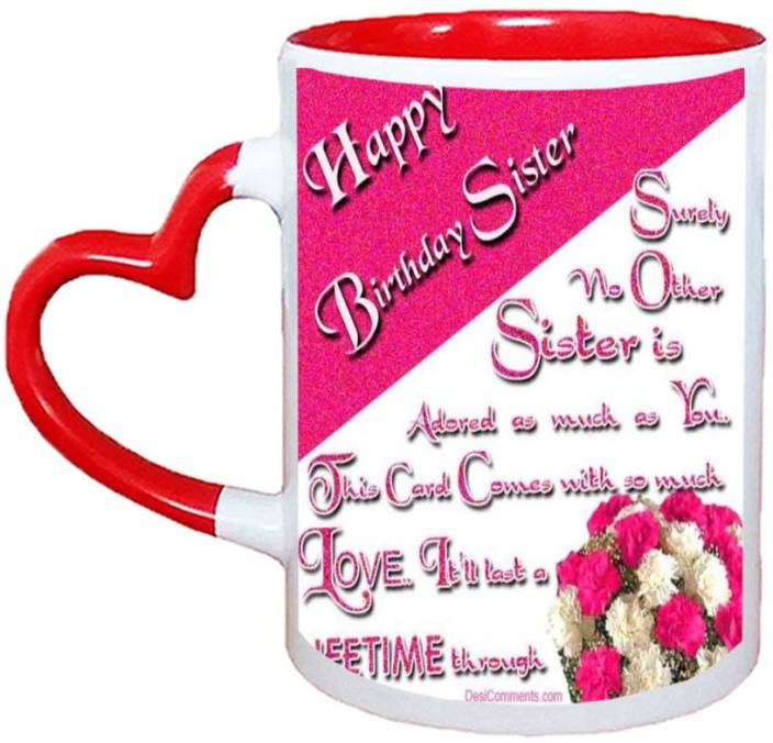 Muggies Magic Funny Happy Birthday Wishes Images For Sister Red Heart Handle 11 Oz Ceramic Mug 325 Ml