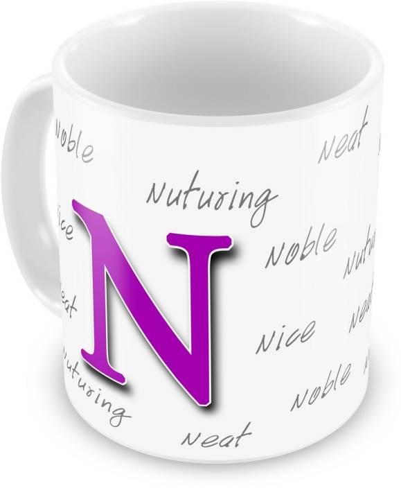everyday gifts happy birthday gift for starting letter n ceramic mug