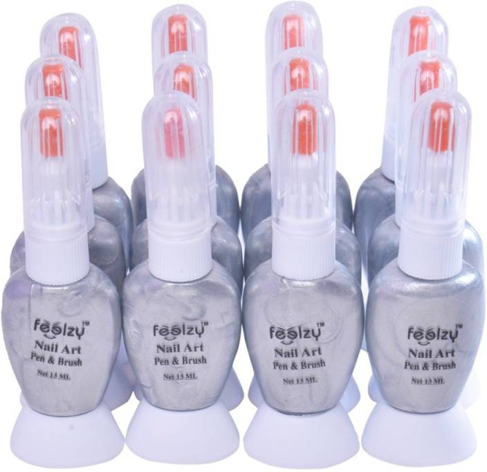 Foolzy Pack Of 12 Twoway Nail Art Paint Polish With Pen And Brush