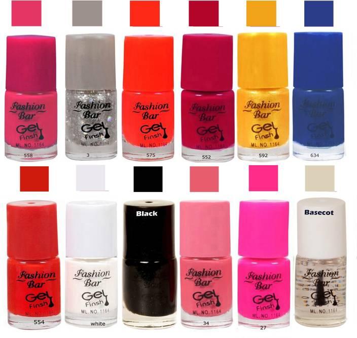 Fashion Bar Glitter Silver Nail Polish Combo Pack Of 12