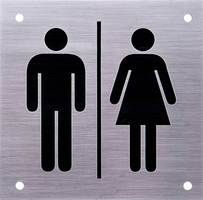 Shreyas signages steel male female unisex toilet logo door sign i stainless steel i restroom for Stainless steel bathroom signs