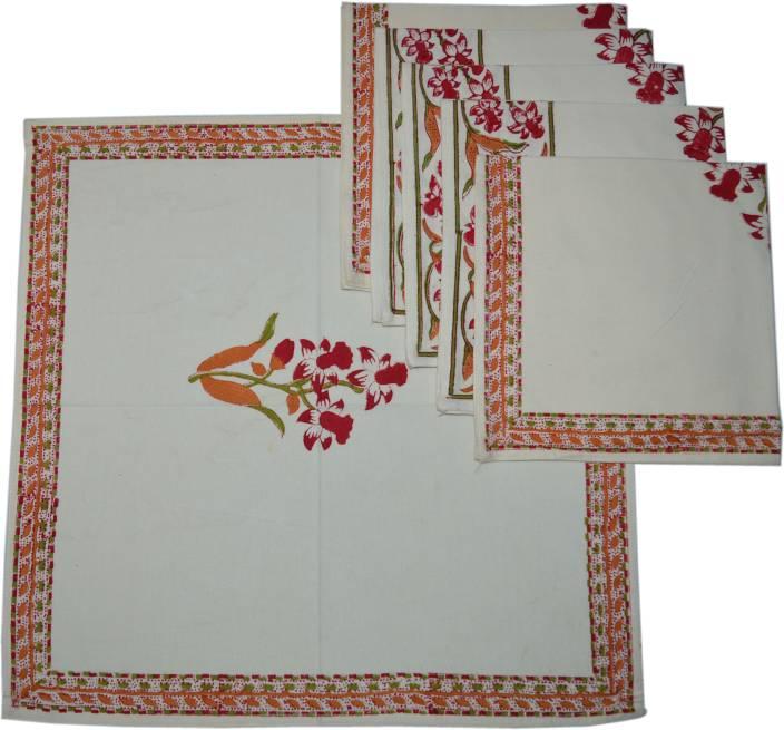 Raaga Textiles N014 White, Multicolor Set of 6 Napkins