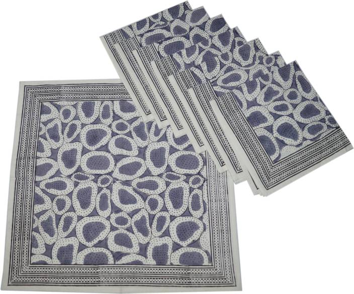 Raaga Textiles N011 White, Grey Set of 8 Napkins