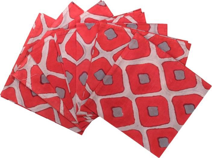 Raaga Textiles N008 Red, Grey Napkins