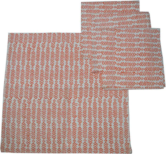 Raaga Textiles N012 White, Red Set of 4 Napkins