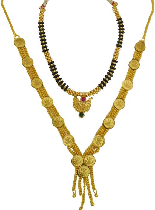 0257a0c3d375d My Design Laxmi Haar Thushi Combo Gold-plated Plated Alloy Necklace ...