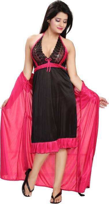 ce8b6d2f59 Fashigo Women Nighty with Robe - Buy Fashigo Women Nighty with Robe ...