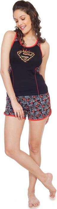 Soie Women's Printed Black Top & Shorts Set