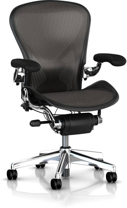 aeron office chair used. hermanmiller aeron - classic carbon pellicle : polish aluminum base backrest and seat synthetic office chair used n