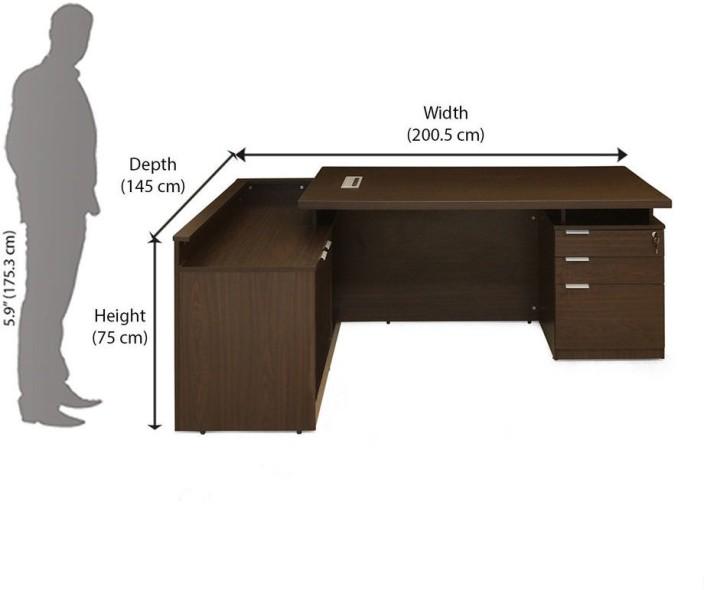 Nilkamal Elegant Engineered Wood Office Table (Free Standing, Finish Color    Walnut)