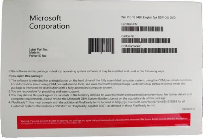 microsoft win 10 pro 64 bit