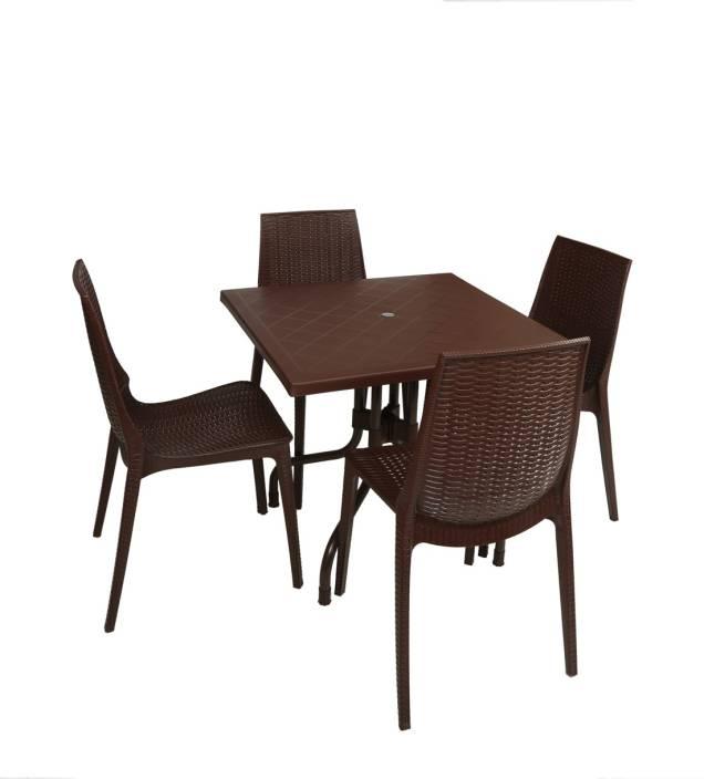 Supreme Globus Brown Plastic Table Chair Set