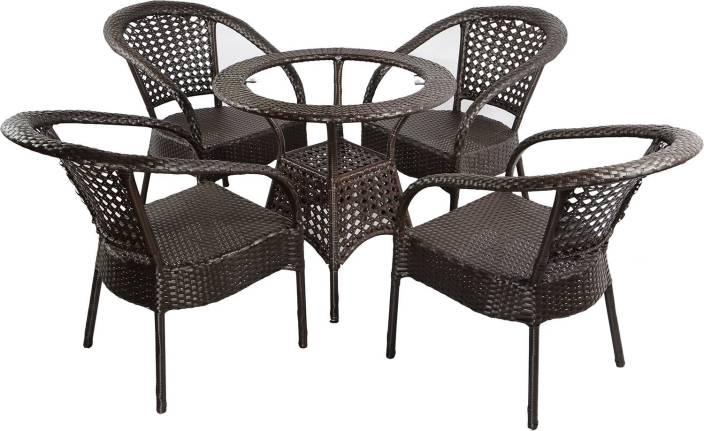 Mavi Brown Cane Table & Chair Set