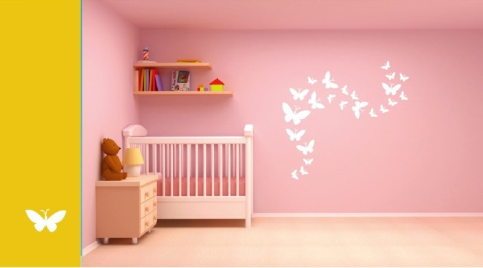 Asian Paints Wall Stories Butterfly DIY Stencil Kit   White L152 Paint  Roller