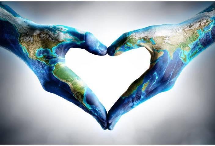 Hands Shaped Heart With World Map Unframed Art Print Canvas Art