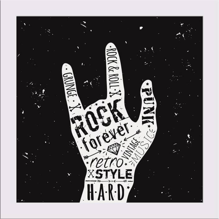Artzfolio Hand Rock And Roll Typography Framed Art Print