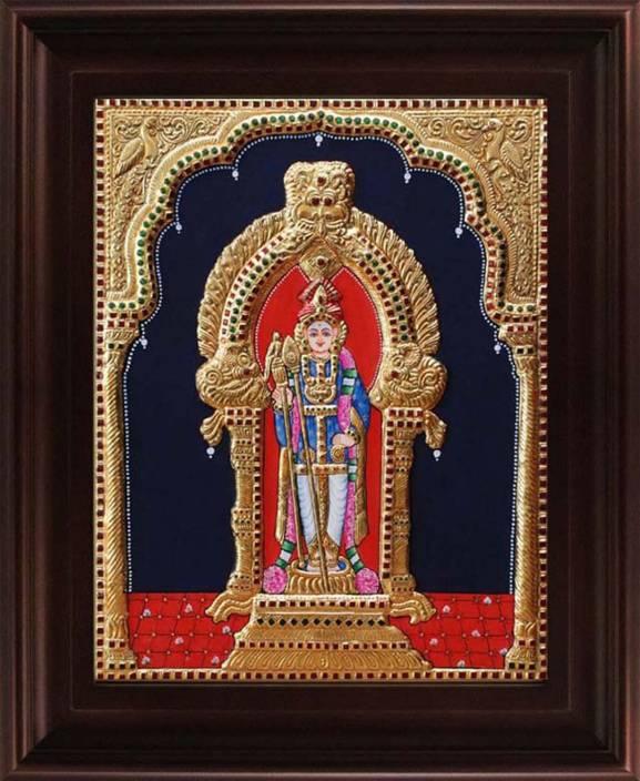MyAngadi Palani Murugan - Raja Alangaram Tanjore Canvas 6 inch x 5