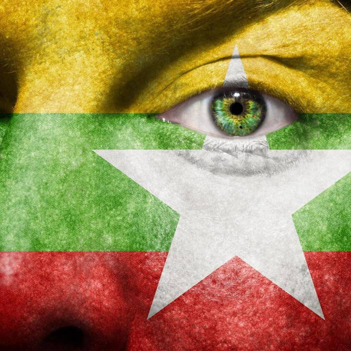 Pitaara Box Myanmar Flag Painted On Face Unframed Wall Art Painting