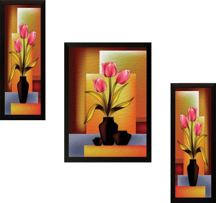 Saf set of 3 flowers digital reprint painting price in for Set of three canvas paintings