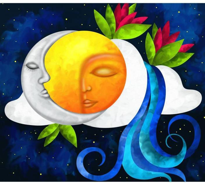 Artzfolio Sun And Moon Framed Art Print Canvas Painting Price In