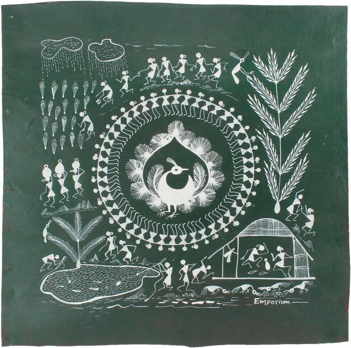 Emporium maharashtra warli painting green base canvas painting emporium maharashtra warli painting green base canvas painting thecheapjerseys Gallery