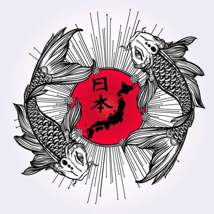 a8a0dce9fa70d2 Pitaara Box Romantic Fish Koi Carp With Japanese Flag Framed Wall Art  Painting Print Canvas 12 inch x 12 inch Painting Price in India - Buy  Pitaara Box ...