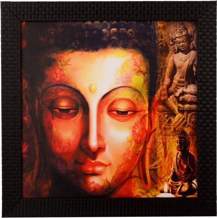 eCraftIndia Peaceful Buddha Satin Matt Texture UV Canvas Painting