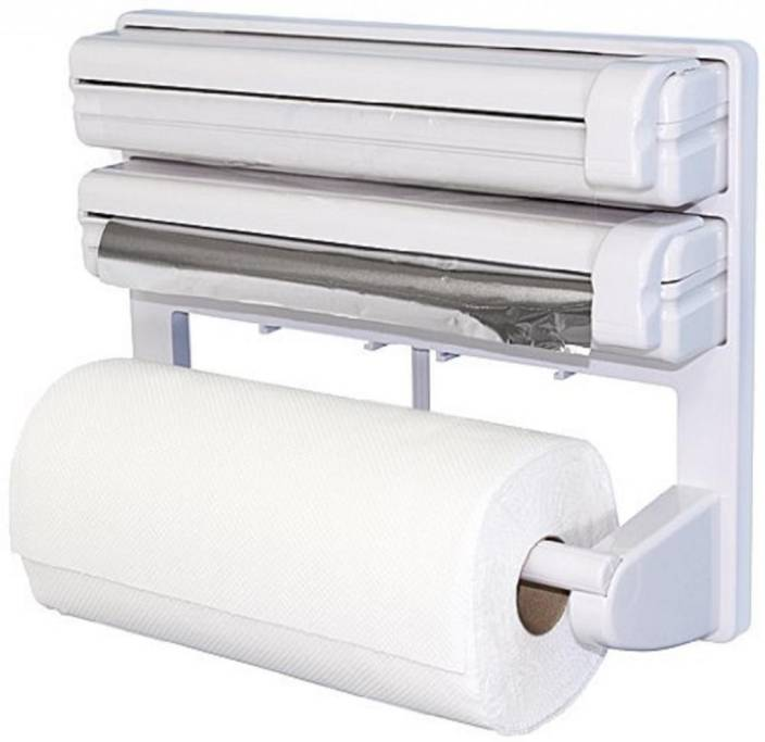Wonder World 3 In 1 Kitchen Roll Holder Mount For Cling Film Towel Wrap Aluminium Foil Wall Mounted Smart Kitchen Type A 670 Paper Dispenser