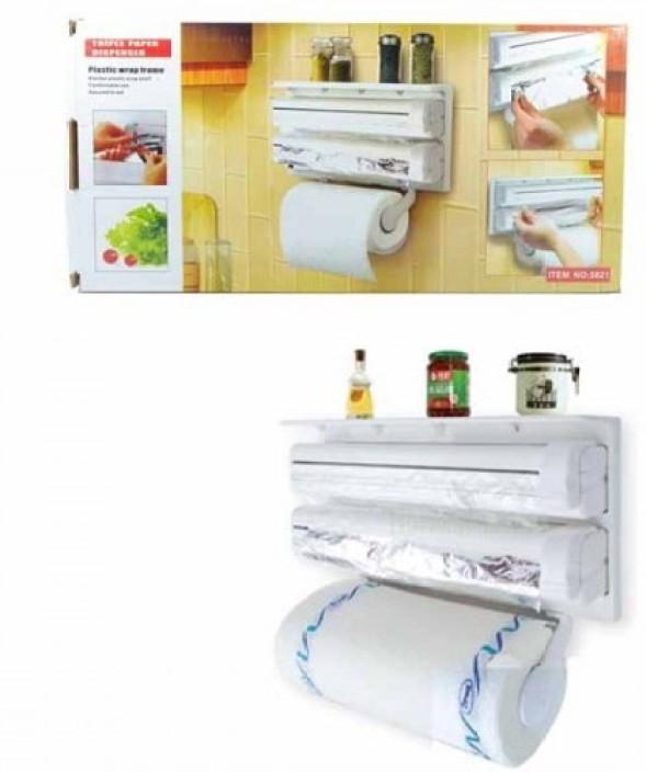 Wonder World ® Kitchen Roll Holder Tin Foil Cling Film Paper Towel Wrap  Cutter Smart Kitchen