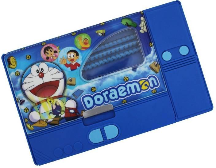 Stuff Jam Doraemon Cartoon Print Art Plastic Pencil Box (Set of 4, Bue)