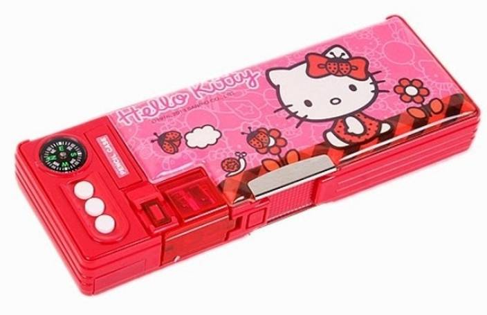 Sanrio Hello Kitty Character Face Art Plastic Pencil Box (Set of 1, Red). 4