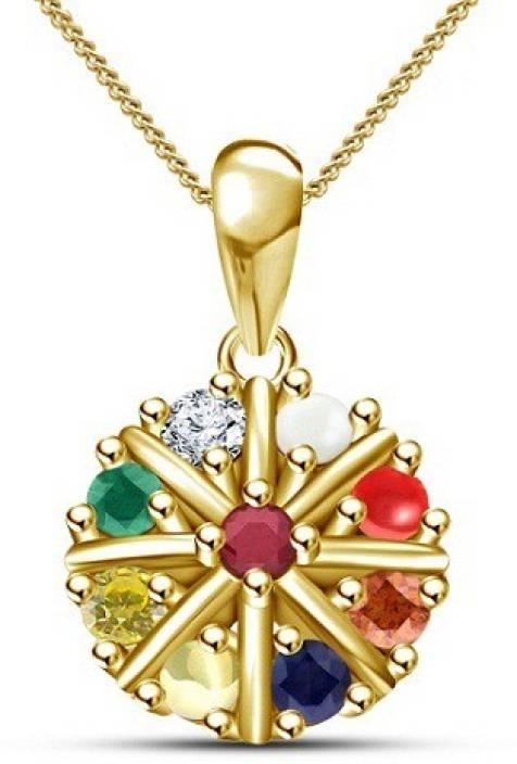 Kirati Navratna Gold-plated Ruby, Cubic Zirconia, Pearl, Coral, Sapphire,  Emerald Sterling Silver Pendant