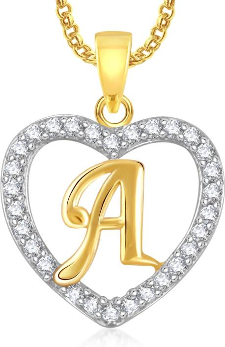 Meenaz fashion jewellery valentine gift gold plated heart necklace meenaz fashion jewellery valentine gift gold plated heart necklace alphabet letter a pendant chain for girls audiocablefo