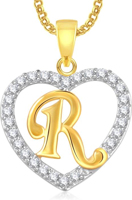 a569a487b5 Meenaz Fashion Jewellery Valentine Gift Gold Alphabet Letter Necklace Heart  Chain R Pendant for girls women