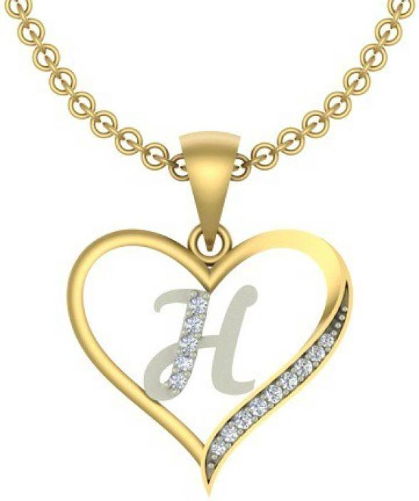 H Letter Images.Kanak Jewels Initial Letter H In Heart Shaped Gold Plated Cubic Zirconia Brass Pendant
