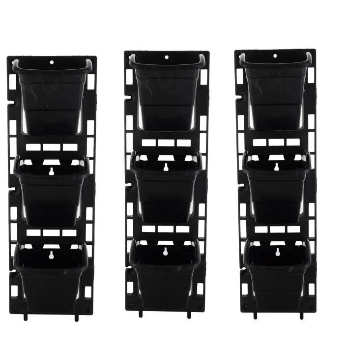 Planters Vertical Garden Panel Black 6x18 Inches 3 Frame 9 Pot