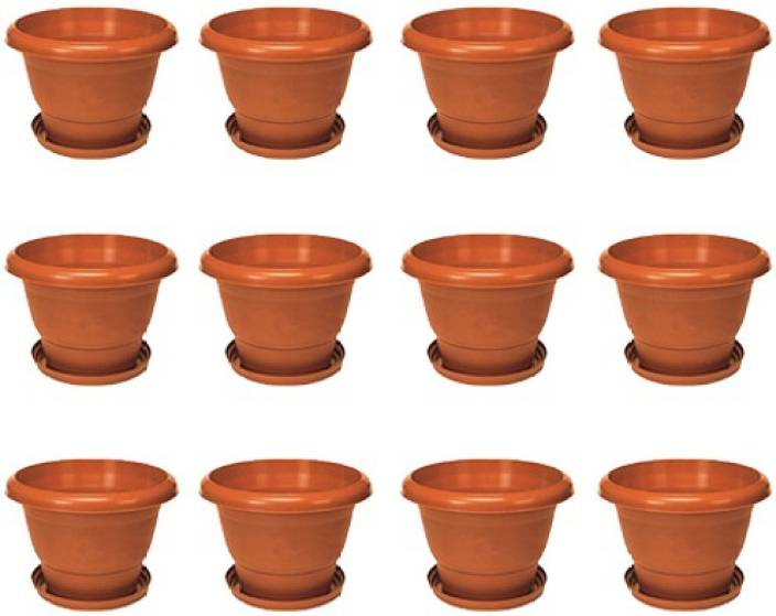 Trustbasket Set Of 12 Uv Treated Plastic Pots 14 Inch With Saucer