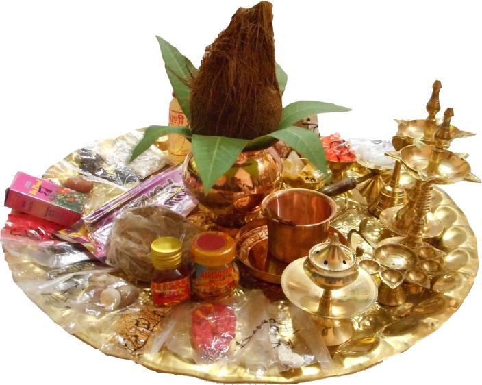 SwadesiBuyzzar Navaratri Pooja Thali Set With Pooja Samagri Brass