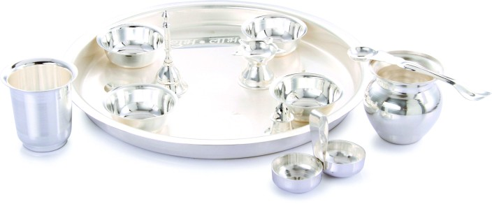 Ojas Laxmi Pooja Set Silver Plated Pooja \u0026 Thali Set  sc 1 st  Flipkart & Ojas Laxmi Pooja Set Silver Plated Pooja \u0026 Thali Set Price in India ...