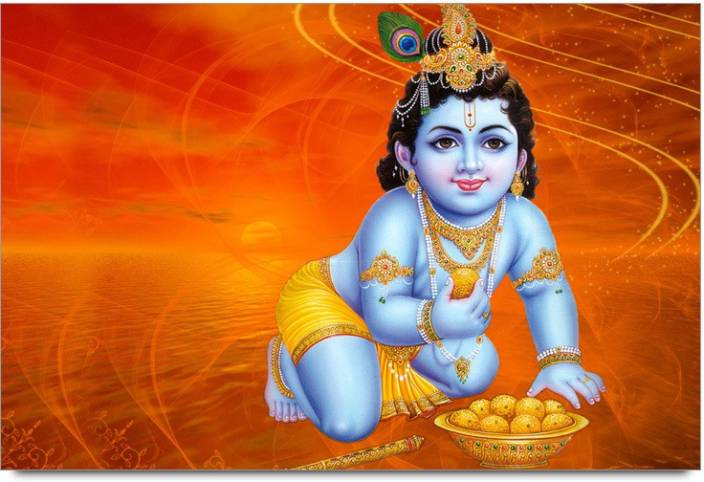 Amy Cute 3d Lord Little Krishna Eating Sweet Ladoos 3d Poster