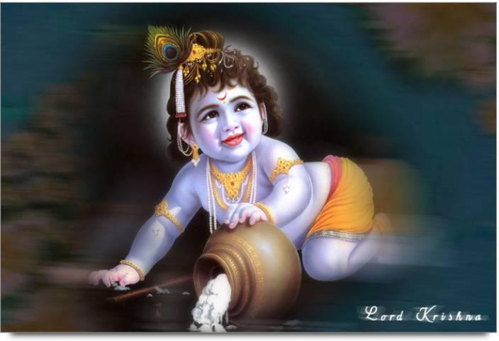 Amy Cute Little Krishna Eating Makhan 3d Poster Nature Nature