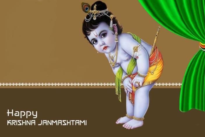 Printinggali Shri Krishna Janmashtami Posters Paper